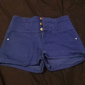 High waisted shorts . 3 button fly .
